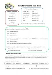English Worksheet: How to write and read dates