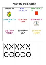English Worksheets: Noughts and Crosses