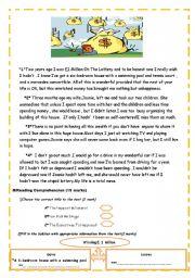 English Worksheet: Second-Form  Test 2(Reading Comprehension)