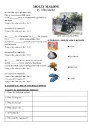 English Worksheets: Molly Malone song (preterite)