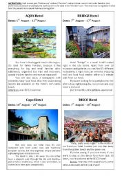 English Worksheet: An ideal hotel