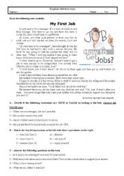 English Worksheet: Test 9th grade (My first job)