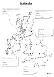 English Worksheet: British Isles Geography