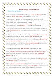 English Worksheets: mixed language tasks