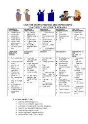 English Worksheet: Phrases for debates