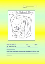 English Worksheets: MY BACKPACK