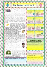 English Worksheets: The Easter rabbit is ill (KEY included)