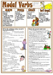 English Worksheet: Modal Verbs (Can,May,Should)