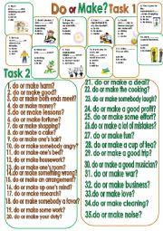 English Worksheet: Do or Make? Consolidation exercises.