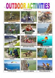 English Worksheets: Outdoor Activities 1
