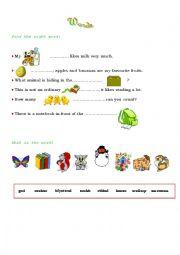 English Worksheets: Words & Sentences