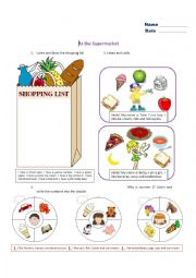 At the supermarket - worksheet by raindrop