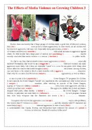 English Worksheet: The Effects of Media Violence on Growing Children 3