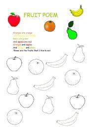 worksheet: FRUIT POEM