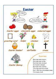 English Worksheet: Easter Pictionary + Poem