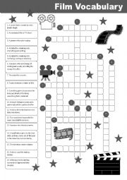 English Worksheet: Film Vocabulary Crossword