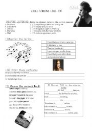 English Worksheet: Adele, someone like you