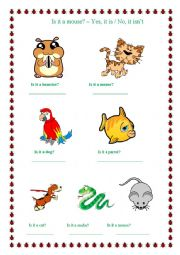 English Worksheets: Animals/ Yes, it is - No, it isn�t