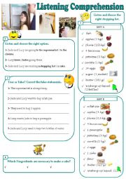 English Worksheet: Making a Shopping List - Listening Comprehension