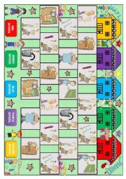 English Worksheet: Classroom Language Boardgame
