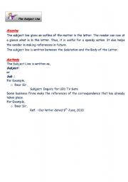 English Worksheets The Subject Line