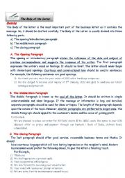 English Worksheets: Body of the Letter