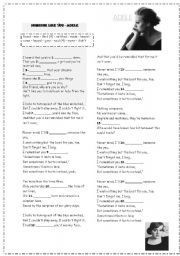 English Worksheet: ADELE-SOMEONE LIKE YOU