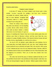 English Worksheets: Pateur�s Lucky Chickens