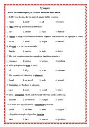 English Worksheet: Synonyms & Antonyms
