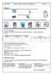 English Worksheet: Module4 Lesson5 Communication 9th form
