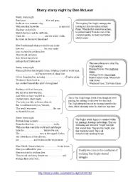 English Worksheets: ART - starry starry night