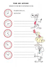 English Worksheets: time and actions