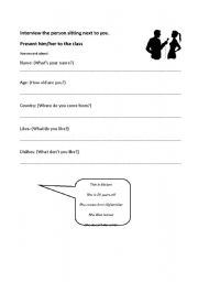 English Worksheets: Presenting a classmate