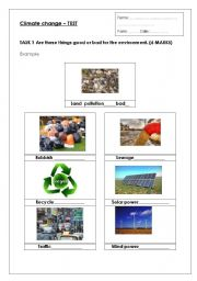 English Worksheet: Climate change Environment  Test