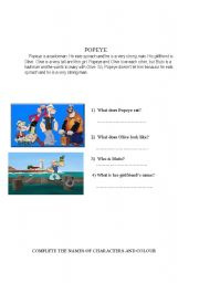 English Worksheets: popeye worksheet