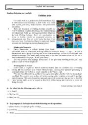 English Worksheet: Test 9th grade (Holiday jobs)