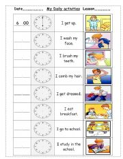 English Worksheets: my daily activities