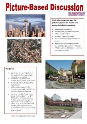 English Worksheet: Picture-based discussion Elementary - (06) Your town