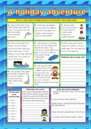 English Worksheet: A holiday adventure (KEY included)
