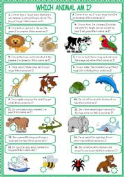 English Worksheets: Which animal am I?