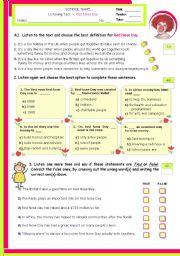 English Worksheet: Solidarity:   Red Nose Day    - Listening test