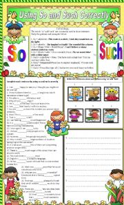 English Worksheet: SO AND SUCH
