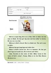 English Worksheet: English Test - 6th grade