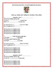 English Worksheets: We found love - Rihanna