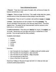 advanced esl worksheets types of business documents. Black Bedroom Furniture Sets. Home Design Ideas