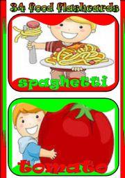 English Worksheet: 34 food flashcards