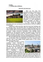 English Worksheets: BRITISH UNIVERSITIES