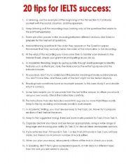 English Worksheet: 20 Tips for success IELTS.