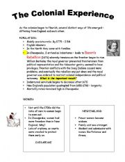 English Worksheets: Colonial Experience