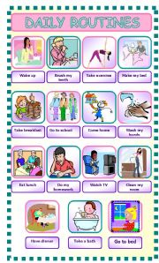 English Worksheets: daily routines pictionary